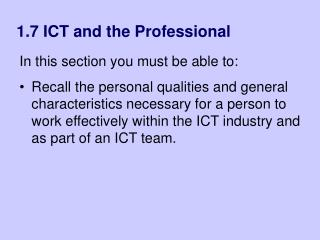1.7 ICT and the Professional