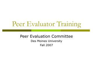 Peer Evaluator Training