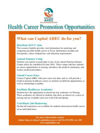 Health Career Promotion Opportunities