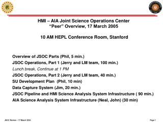 Overview of JSOC Parts (Phil, 5 min.)  JSOC Operations, Part 1 (Jerry and LM team, 100 min.)
