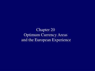 Chapter 20 Optimum Currency Areas  and the European Experience