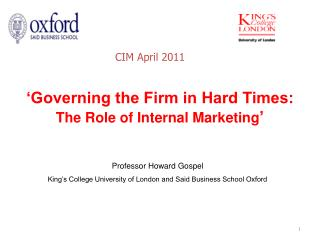 'Governing the Firm in Hard Times: The Role of Internal Marketing '