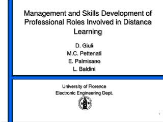 Management and Skills Development of Professional Roles Involved in Distance Learning