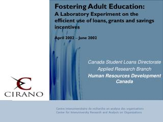 Canada Student Loans Directorate Applied Research Branch  Human Resources Development Canada
