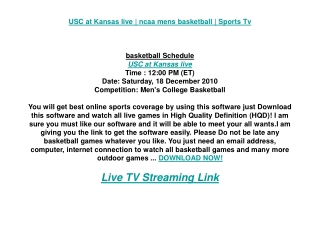 USC at Kansas live | ncaa mens basketball | Sports Tv
