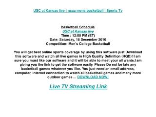 USC at Kansas live | ncaa mens basketball | Sports Tv