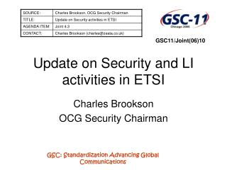 Update on Security and LI activities in ETSI