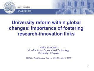University reform within global changes: importance of fostering research-innovation links