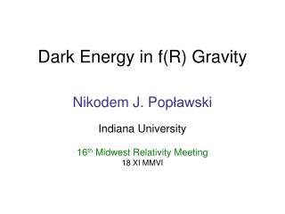 Dark Energy in fR Gravity