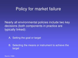 Policy for market failure