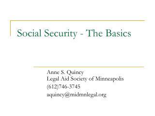 Social Security - The Basics