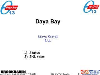 Daya  Bay Steve Kettell BNL Status BNL roles