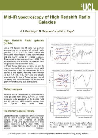 Mid-IR  Spectroscopy  of High Redshift Radio Galaxies J. I. Rawlings*, N. Seymour* and M. J. Page*