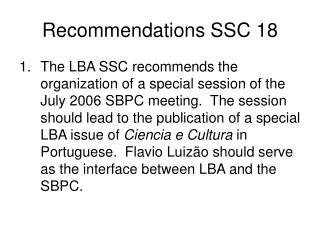 Recommendations SSC 18