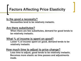 Factors Affecting Price Elasticity