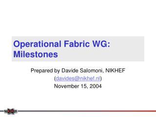 Operational Fabric WG: Milestones