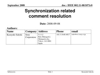Synchronization related  comment resolution