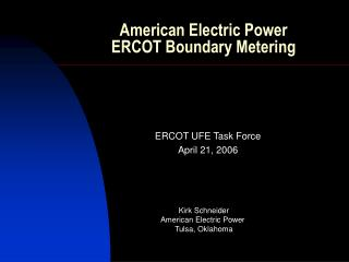 American Electric Power ERCOT Boundary Metering