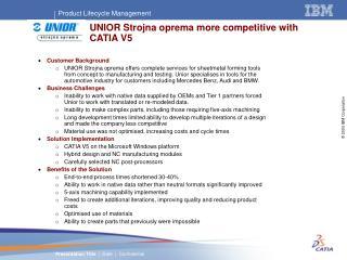 UNIOR Strojna oprema more competitive with CATIA V5