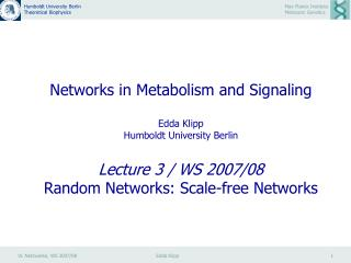 Random Networks: Scale-free Networks