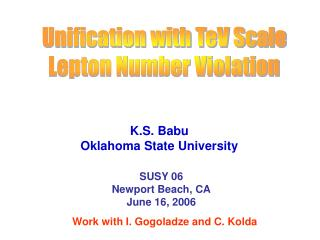 Unification with TeV Scale Lepton Number Violation