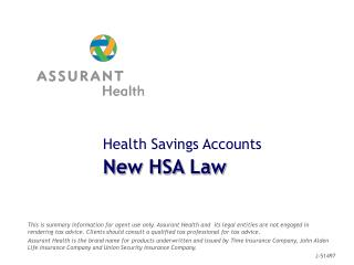 Health Savings Accounts New HSA Law