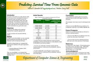 Predicting Survival Time From Genomic Data