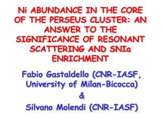 Fabio Gastaldello (CNR-IASF, University of Milan-Bicocca)  & Silvano Molendi (CNR-IASF)