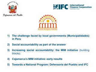 The challenge faced by local governments (Municipalidades) in Peru