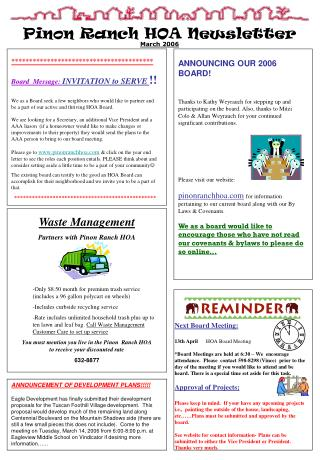 Pinon Ranch HOA Newsletter