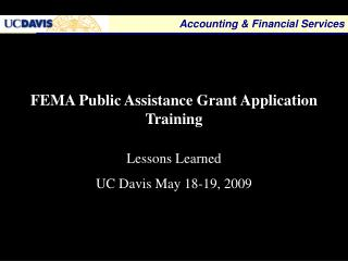 FEMA Public Assistance Grant Application Training