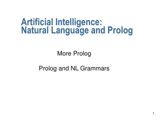 Artificial Intelligence:  Natural Language and Prolog