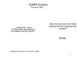SUMER Analysis:  That was 1999……