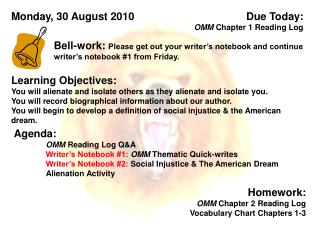 Due Today:  OMM  Chapter 1 Reading Log