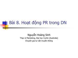 Bài 8. Hoạt động PR trong DN