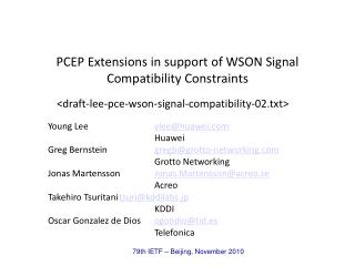 PCEP Extensions in support of WSON Signal Compatibility Constraints