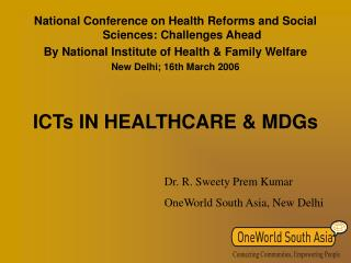 ICTs IN HEALTHCARE & MDGs
