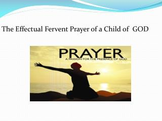 The Effectual Fervent Prayer of a Child of  GOD