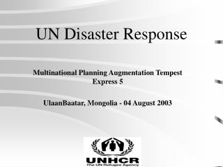 UN Disaster Response