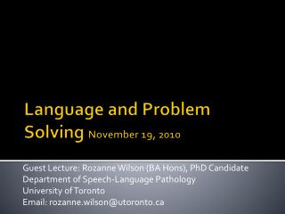 Language and Problem Solving  November 19, 2010