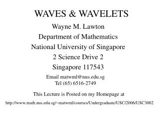 WAVES & WAVELETS
