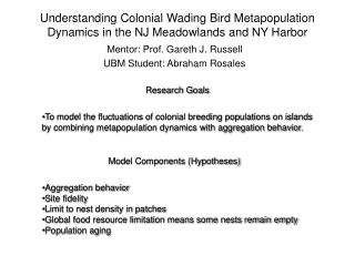 Understanding Colonial Wading Bird Metapopulation Dynamics in the NJ Meadowlands and NY Harbor