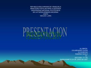 REPUBLICA BOLIVARIANA DE VENEZUELA MINISTERIO POPULAR PARA LA DEFENSA