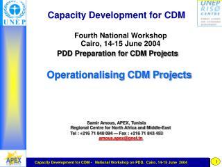 Capacity Development for CDM Fourth National Workshop Cairo, 14-15 June 2004