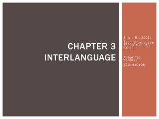Chapter 3 Interlanguage