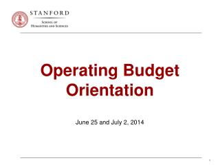 Operating  Budget Orientation