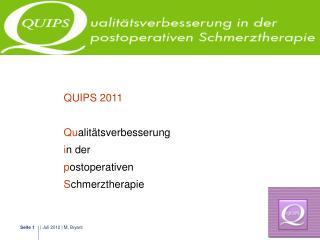 QUIPS 2011 Qu alitätsverbesserung  i n der  p ostoperativen  S chmerztherapie