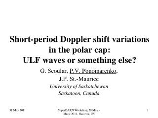 Short-period Doppler shift variations  in the polar cap:  ULF waves or something else?