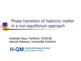 Phase transition of hadronic matter in a non-equilibrium approach
