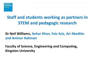 Staff and students working as partners in STEM and pedagogic research